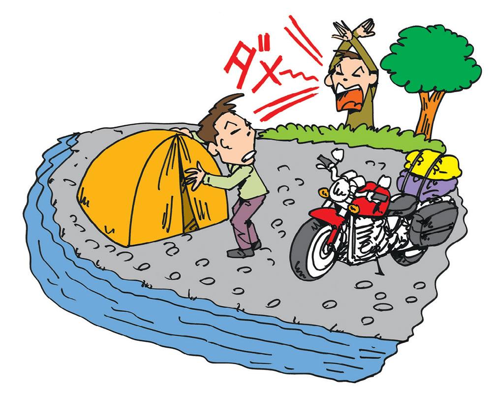 河原や砂浜などでの場外キャンプは危険